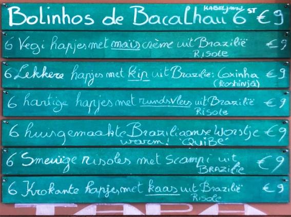 Belgaleiro - Cardápio no muro/Kaart aan de muur